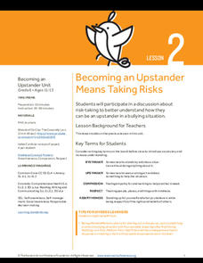 Becoming an Upstander Means Taking Risks Lesson Plan