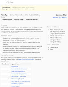 Music and Sound: Guru Introduction and Musical Talent Show Lesson Plan