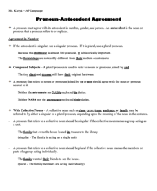 Pronoun-Antecedent Agreement Handouts & Reference