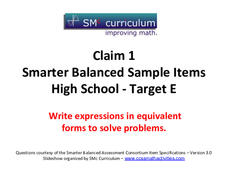 Smarter Balanced Sample Items: High School Math – Target E Assessment