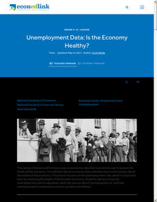Unemployment Data: Is the Economy Healthy? Lesson Plan