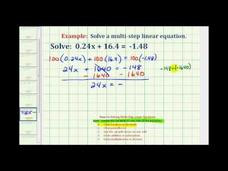 Solve a Two-Step Equation with Decimals (Example) Video
