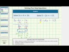 Solving Two-Step Equations (Basic) Video