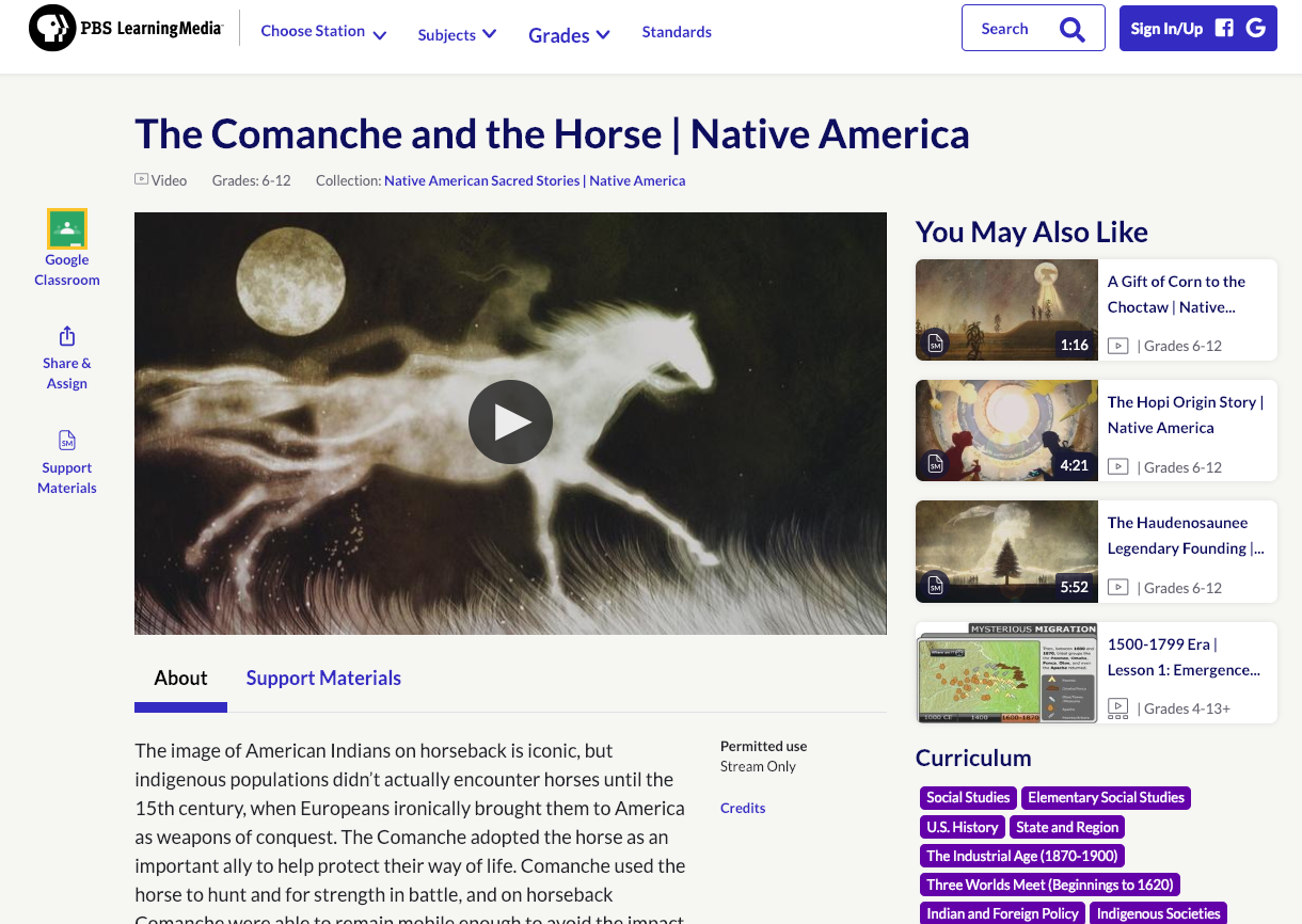 The Comanche and the Horse Video