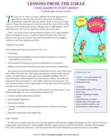 Lesson Plans From The Lorax Lesson Plan
