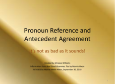 Pronoun Reference and Antecedent Agreement Presentation