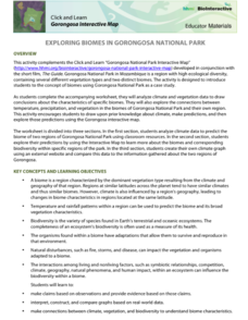 Exploring Biomes in Gorongosa National Park Activities & Project