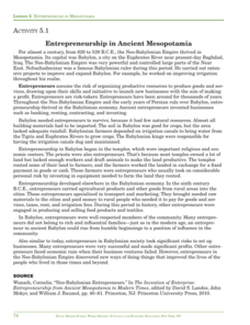 Entrepreneurs in Mesopotamia Activities & Project