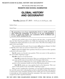 Global History and Geography Examination: January 2015 Assessment