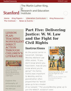 Part Five: Delivering Justice: W. W. Law and the Fight for Civil Rights Lesson Plan