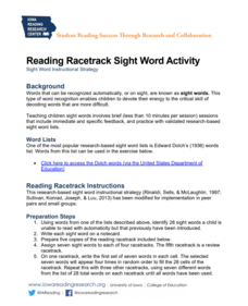 Reading Racetrack Sight Word Activity Lesson Plan