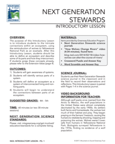 Next Generation Stewards Introductory Lesson Lesson Plan