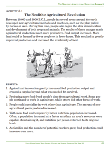 The Neolithic Agricultural Revolution Activities & Project