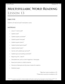 Lesson 13 - Multisyllabic Word Reading Lesson Plan