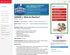 Lesson 1: What Are Barriers? Lesson Plan