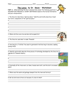 The Lorax Worksheet