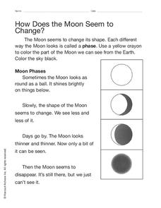 How Does the Moon Seem to Change? Worksheet