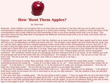 How 'Bout Them Apples? Lesson Plan