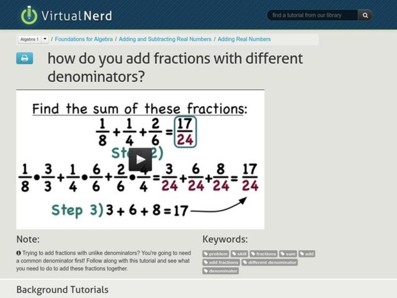 How Do You Add Fractions with Different Denominators? Video