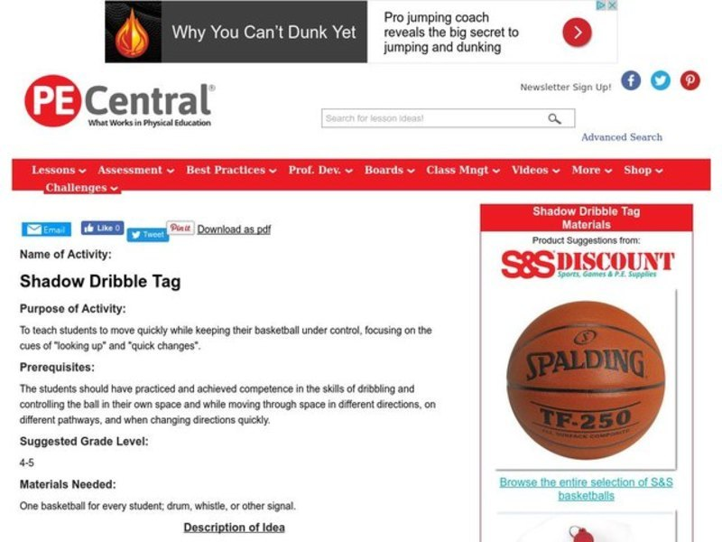 Shadow Dribble Tag Lesson Plan