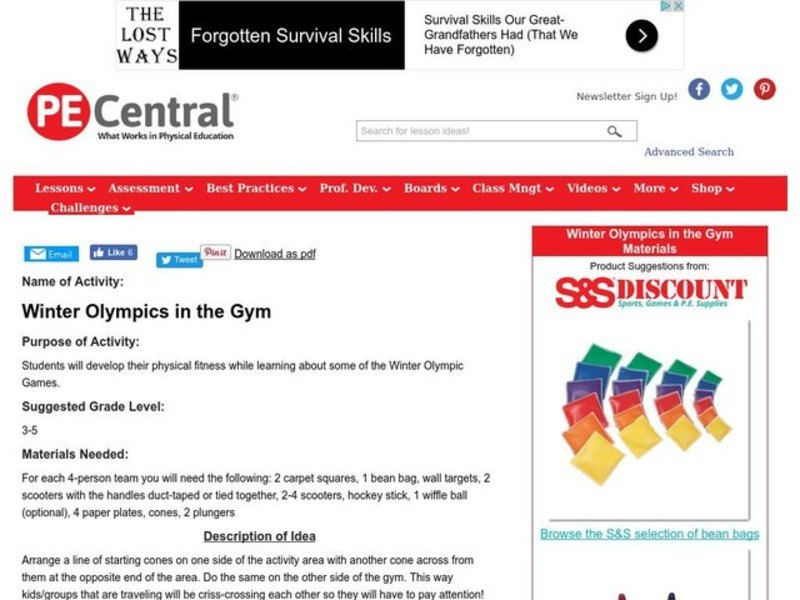 Winter Olympics in the Gym Lesson Plan