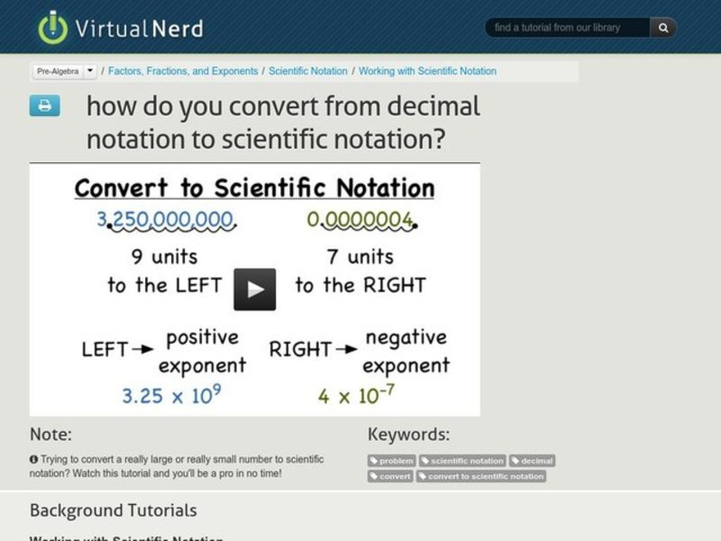 how do you convert from decimal notation to scientific notation  video for 6th