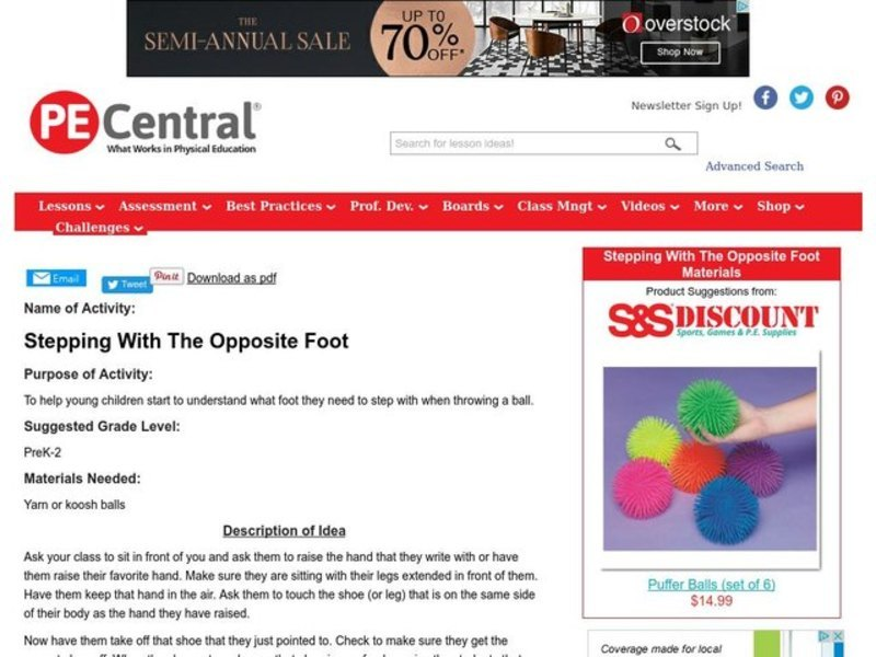 Stepping With The Opposite Foot Lesson Plan