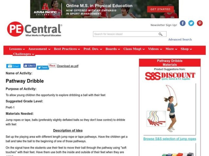 Pathway Dribble Lesson Plan