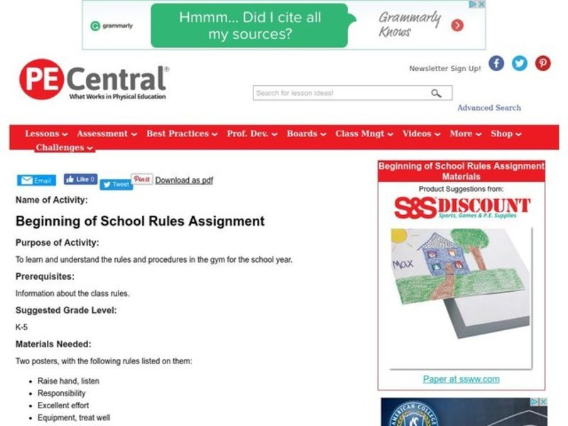 Beginning of School Rules Lesson Plan