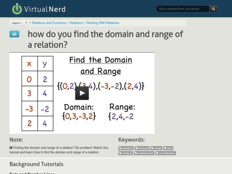 How Do You Find the Domain and Range of a Relation? Video
