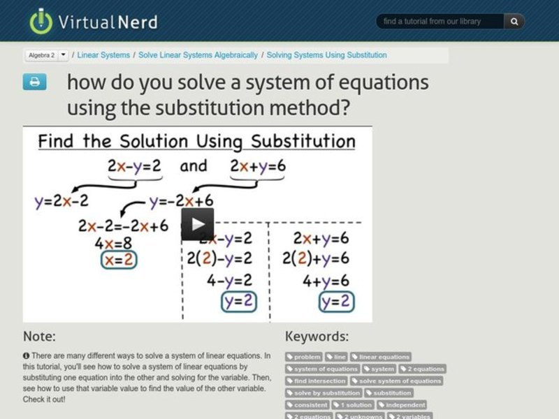 How Do You Solve a System of Equations Using the Substitution Method? Video