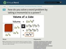 How Do You Solve a Word Problem by Taking a Monomial to a Power? Video