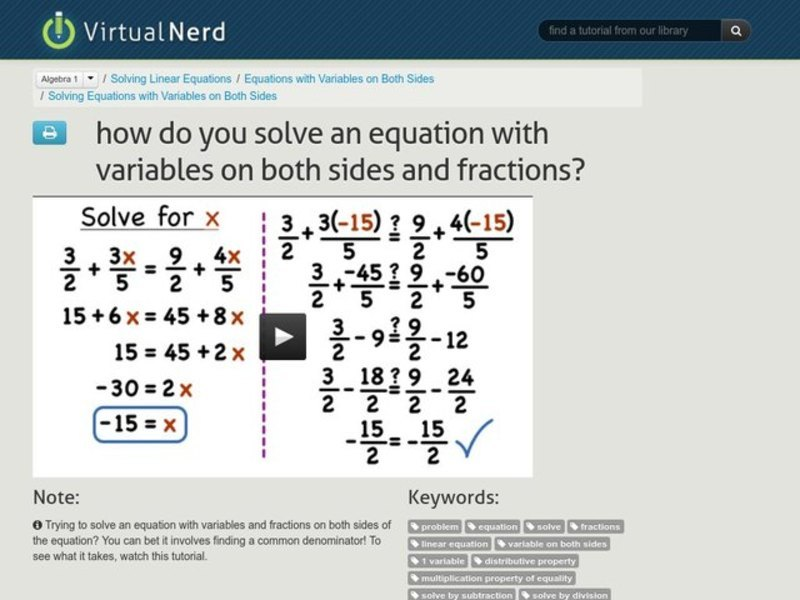 How Do You Solve an Equation with Variables on Both Sides