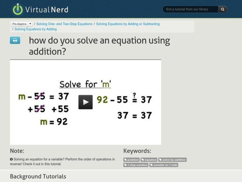 How Do You Solve an Equation Using Addition? Video