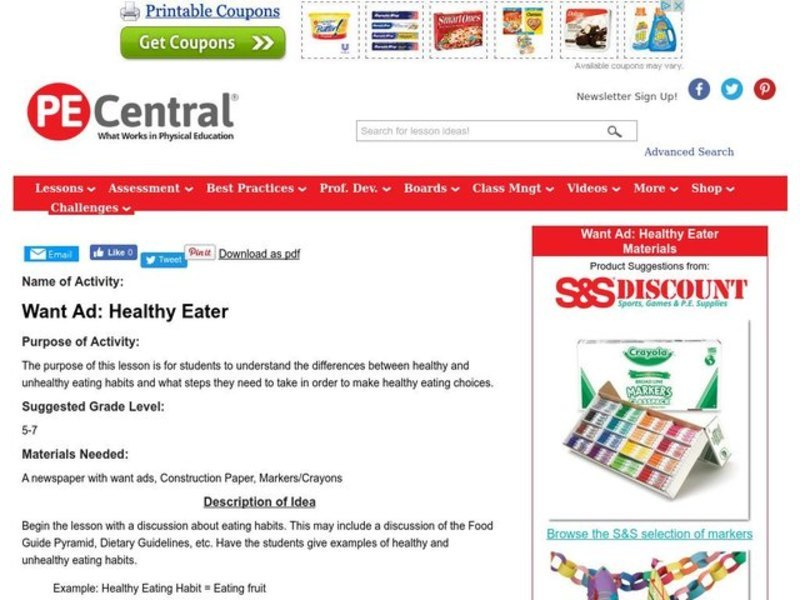 Want Ad: Healthy Eater Lesson Plan