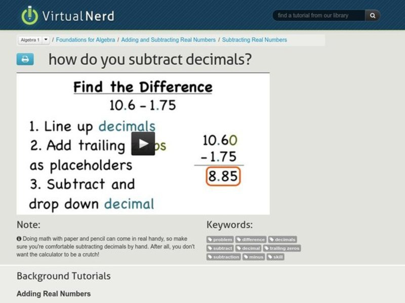 How Do You Subtract Decimals? Video