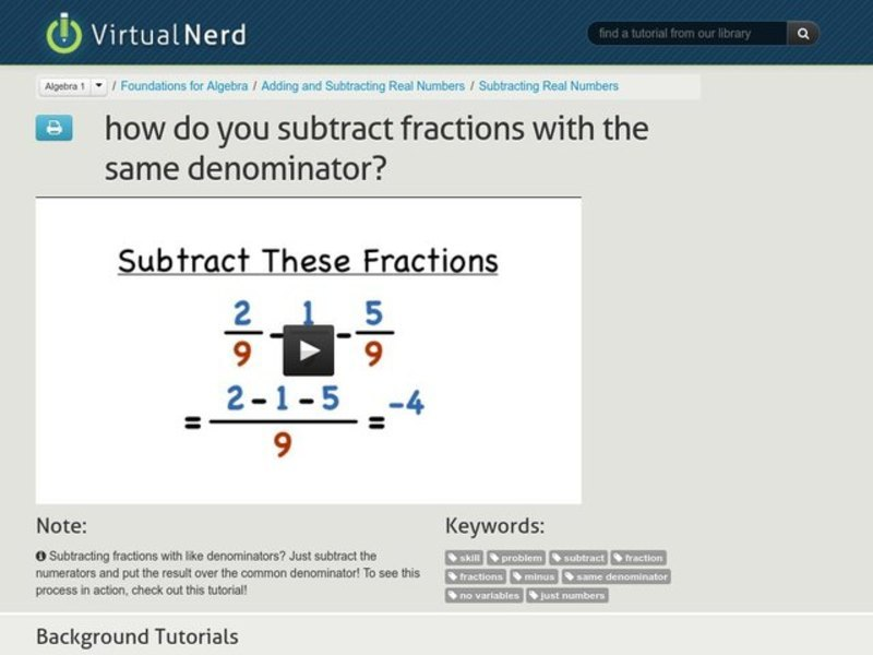 How Do You Subtract Fractions with the Same Denominator? Video
