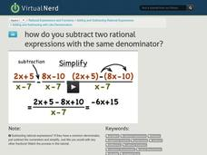 How Do You Subtract Two Rational Expressions with the Same Denominator? Video