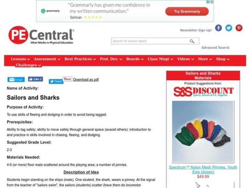 Sailors and Sharks Lesson Plan