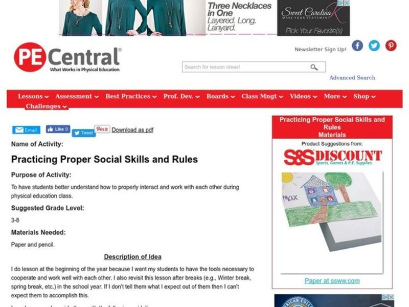 Practicing Proper Social Skills and Rules Lesson Plan