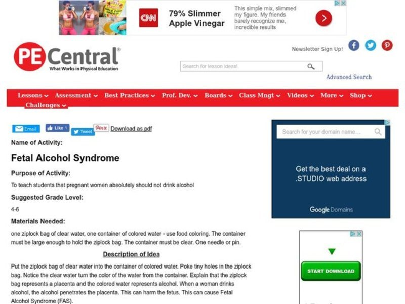 Fetal Alcohol Syndrome Lesson Plan