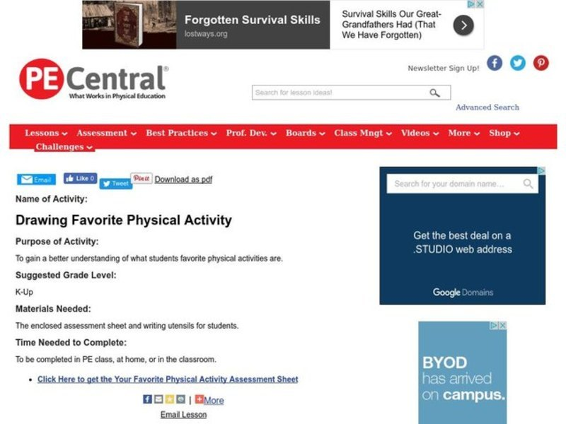 Drawing Favorite Physical Activity Lesson Plan