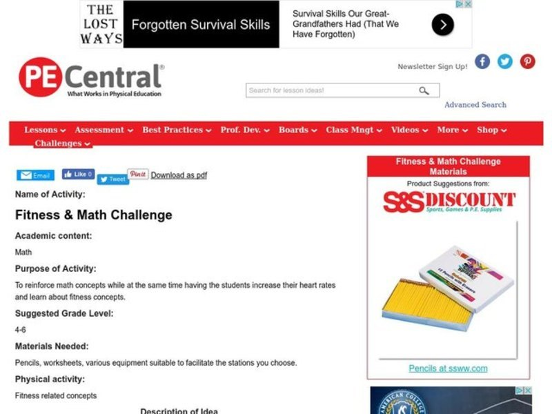 Fitness & Math Challenge Lesson Plan