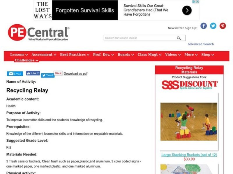 Recycling Relay Lesson Plan