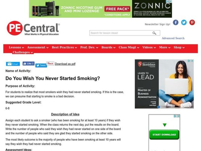 Do You Wish You Never Started Smoking? Lesson Plan
