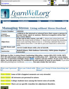 Managing Stress: Living without Stress Overload Lesson Plan