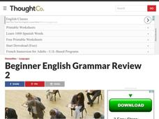 English Beginner Grammar Review # 2 Lesson Plan