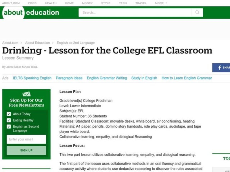 Drinking - Lesson for the College EFL Classroom Lesson Plan