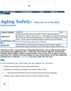 Aging Safely:Self-care in a Healthy Environment Lesson Plan