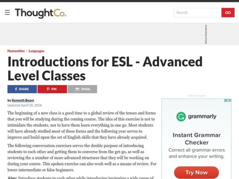 Introductory Lesson for Advanced Level Classes Lesson Plan